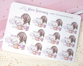 Kawaii Girl Laundry Day ~Violet~ Stickers for your Life Planner, Diary, Journal, Scrapbook...