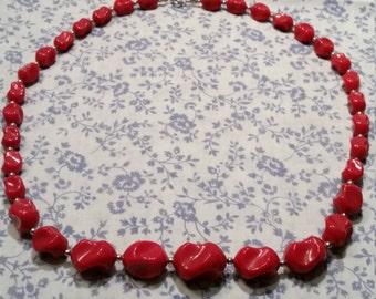 2 FOR 1 - 1980s Beaded Necklace - Red - 2 FOR 1