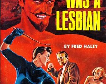 Lesbian pulp vintage art print Satan Was a Lesbian — pulp paperback cover repro