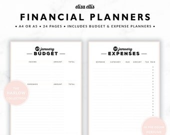 FINANCIAL PLANNERS / Budget Planner / 2017 Planner / Expense Tracker / Budget / Finance Planner / The Harlow Planners in Perfume / 419