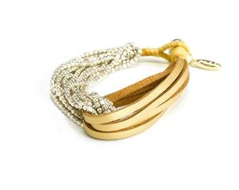 Leather Silver Boho Bracelet - Beige Bracelet - Leather Silver Wrap Bracelet - Casual Beaded Bracelet - Boho Jewelry Ideas