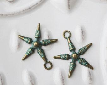 Set of 10, Star Charm, Boho Charm, Rustic Charm, Rustic Jewelry Charm, Patina Charm, Patina Star, Patina Star Charm, Rustic Looking,  0348