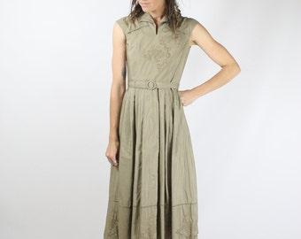 Japanese Vintage Dress, Khaki cotton embroidered shirtwaist dress, XS 3319