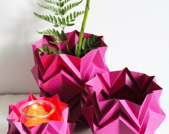 Pack 2 vases + 1 tealight   handmade origami decoration items perfect for your home   available in different colors   perfect Christmas gift