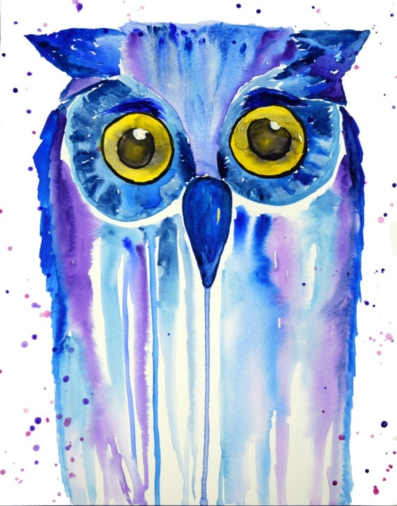 Owl Watercolor Print Abstract Style Splatter Blue Purple 11x14