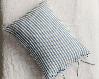 Striped linen pillow cases with ties. Stone washed linen pillow cover. Queen pillow cases, King pillow cases, standard sizes. White taupe.