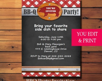BBQ Invitation, BBQ Party Invitation, Barbecue Invitation, Summer Party Invitation, Printable BBQ You Edit Yourself Instant Download