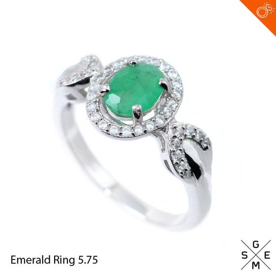 emerald ring genuine green emerald white cz