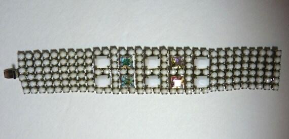 WEISS VINTAGE BRACELET ~ 6 Row Milk Glass and Aurora Borealis Rhinestone Statement Bracelet ~ Vintage 1950s