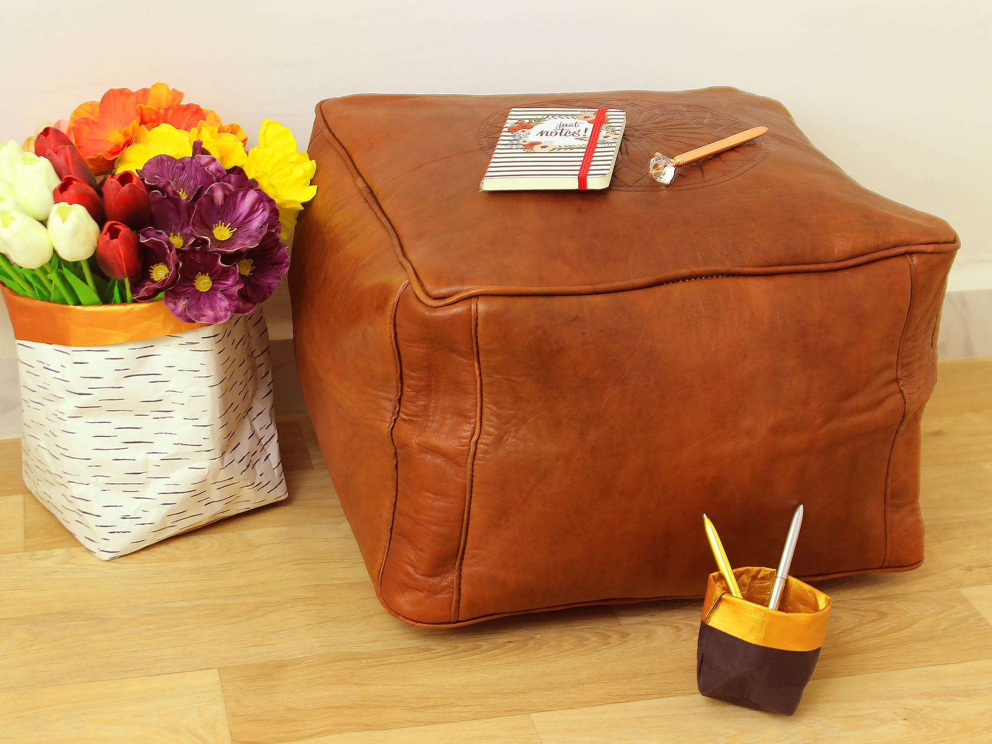 Brown Leather Moroccan Pouf Ottoman Handmade Leather Pouf