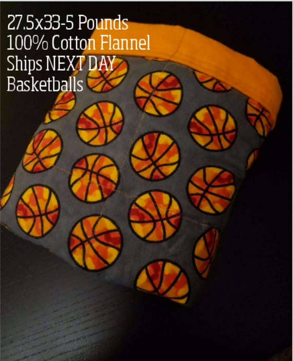 Weighted Blanket, 5 Pound, 27.5x33, READY TO SHIP.  One Business Day Turn Around, Basketball Flannel with Orange Flannel Backing