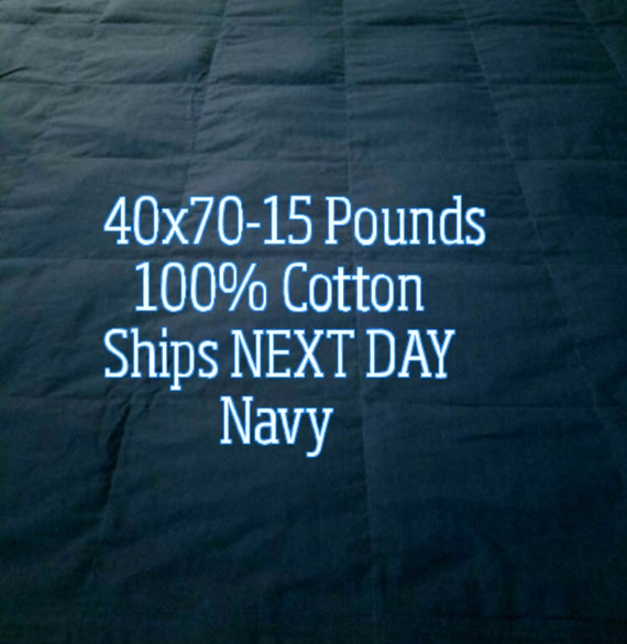 Weighted Blanket, 15 Pound, Navy, 40x70, READY TO SHIP, Twin Size, Adult Weighted Blanket, Next Business Day To Ship