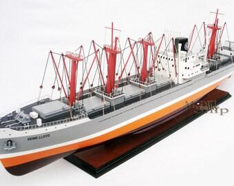 "Seine Lloyd Cargo Ship 39"" Handmade Wooden Cargo Ship Model NEW"