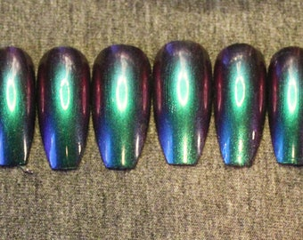 Sirene Multi-chrome Color Shift Coffin Shape Nails (long)