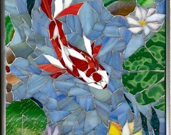 The Koi Chase: Stained Glass Mosaic Wall Art   SALE!