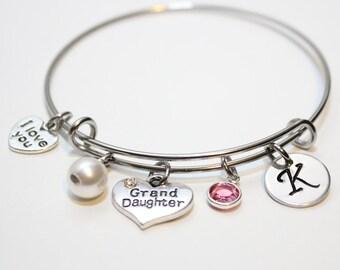 granddaughter bracelet, granddaughter bangle, granddaughter jewelry, granddaughter initial bracelet,  granddaughter gift, granddaughter