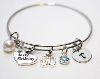 50th birthday bangle, 50th birthday bracelet, 50th birthday jewelry, 50th birthday gift, initial 50th birthday bangle, initial 50th birthday