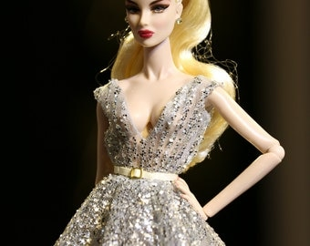 Silver dress for fashion royalty , Poppy Parker, Silkstone Barbie, fr2 , 12'' Fashion Doll