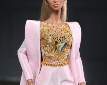 Pink Jumpsuit for fashion royalty , Poppy Parker , Silkstone Barbie , fr2 , lovestones , 12'' Fashion Doll