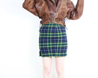 French Vintage 80's cropped suede & leather jacket / Brown genuine Leather crop fit batwing motorcycle biker 1980s lace up sides / Size XS S