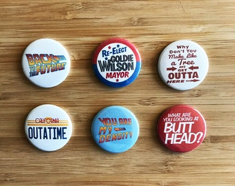 Back to the Future Pinback Button Set, Doc Brown, Delorean, Marty McFly ,80s Nerd, Biff, 80s Movies, Pop Culture lapel Pin, Michael J Fox,