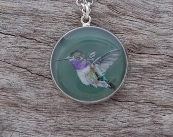 Hand Painted Hummingbird Pendant