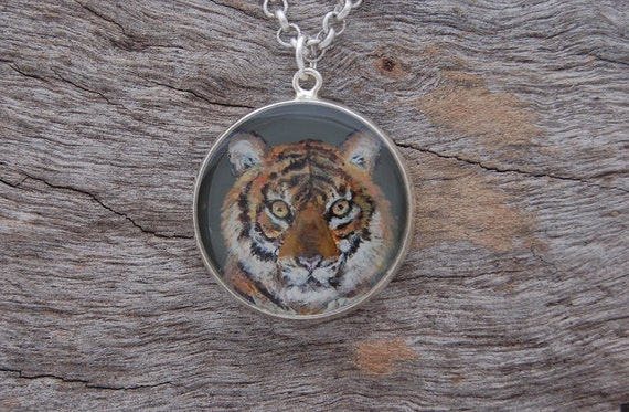 Hand Painted Tiger Pendant