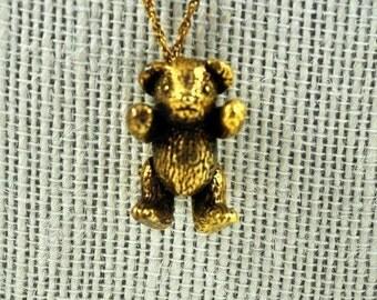 Vermeil sterling silber bear pendant necklace
