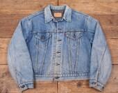 Mens Vintage Levis Red Tab Blanket Lined Denim Trucker Jacket Blue L 46 R4722