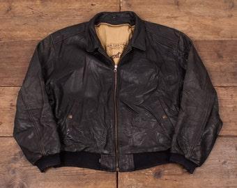 """Men's Levis Vintage Lined Leather Bomber Jacket Black XL 48"""" R4103"""