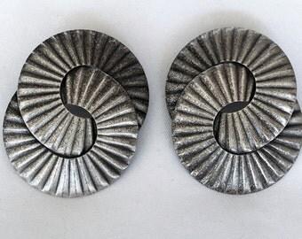 Vintage Sterling Silver Modernist Metalwork Interlocking Rings Post Earrings
