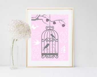 Shabby Chic Art, Birdcage Print, Printable Art,  Wall Decor, Instant Download, Girls Room Decor, Pink Wall Art, Nursery Art