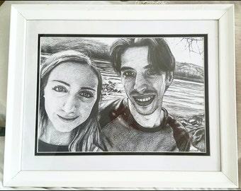 Custom Hand-drawn 2 People Portrait