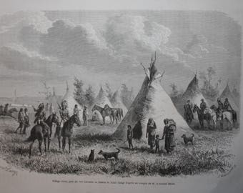 old engraving village of sioux indians 1868