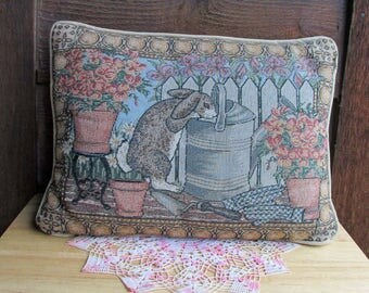 Bunny Rabbit Pillow   Vintage Home Decor   Vintage Rabbit Decor