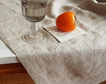 Linen Tablecloth From Washed Natural Flax Grey Linen   Rustic Tablecloth,  Undyed Linen Dropcloth