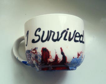 I SURVIVED Handmade hand painted bleu and red abstract cancer survivor gift unique quote mug custom order cupcake mug gift for him