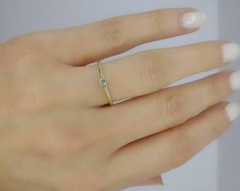 Thin Diamond Engagement Ring / Solitaire Diamond Ring / Minimalist Engagement Ring / Simple Diamond Ring