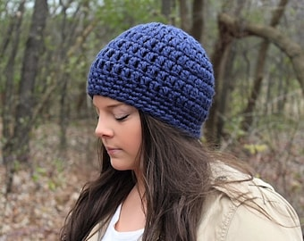 Crochet Hat, Crochet Beanie, Dark Blue Beanie, Blue Hat, Blue Crochet Beanie, Blue Winter Hat, Chunky Beanie, Blue Women's Hat, THE SENECA