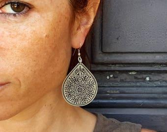 Silver Filigree Earrings, Gypsy Earrings, Ornate Drop Earrings, Large Earrings, Boho Silver Earrings, Tribal Drop Earrings, Ethnic Earrings,