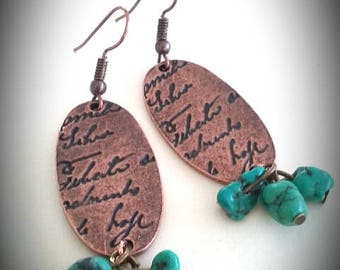 Copper and Turquoise long earrings