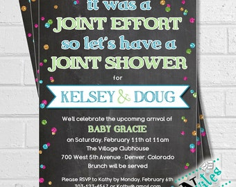 Couples Baby Shower, Co Ed Baby Shower, Joint Baby Shower Invitation, Funny
