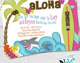 Surf Party Invitation, Surf Party, Beach Party Invitation, Swim Birthday Party, Hawaiian Luau, Luau Invite, Summer Birthday | PRINTABLE