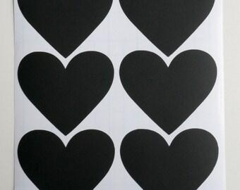 18 Heart Chalkboard labels Sticker Tags, self adhesive labels, Blackboard Label Tags,love tags rustic decor chalk labels. Set of 18