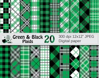 Green and Black Plaids Digital Paper, Buffalo Plaid Lumberjack Check Digital papers, Black Green Geometric Scrapbook paper, Instant Download