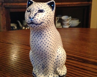 Vintage Polish Pottery Cat Hand Painted Made in Poland