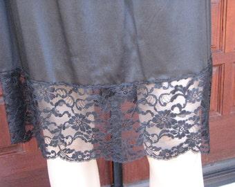 Vintage Black Half Slip, Black Skirt Extender