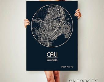 CALI Colombia CANVAS Map Cali Colombia Poster City Map Cali Colombia Art Print Cali Colombia poster Cali Colombia map art Poster Cali map
