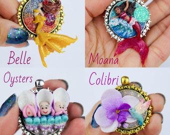 OOAK pendants (people size): Belle / Moana / Oysters / Colibri / Luna & Artemis Cats / Seashell Mermaid / Ariel
