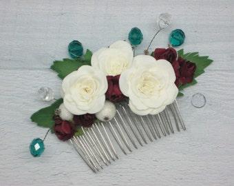 Bridal comb flower Burgundy wedding Bride hair comb Wedding bride comb Rose hair clip Boho comb wedding Rustic bridal clip Burgundy comb her